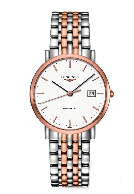 LONGINES 浪琴錶 L48105127雙色玫瑰金紳士機械腕錶/白面37mm