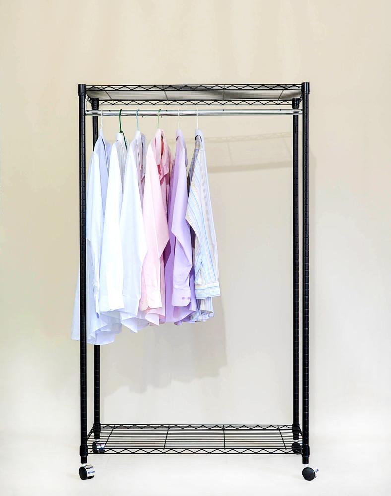 大摩家 雙層附輪衣櫥架 90x45x140 收納架 層架 鐵架 置物架 波浪架 鐵力士架