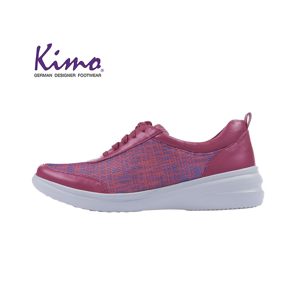 【Kimo 德國品牌健康鞋】花樣風格網布羊皮繫帶平底休閒鞋(魅力紅KAISF071407)