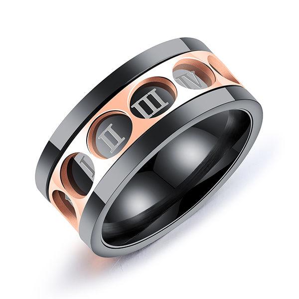 可旋轉羅馬數字白鋼戒指-bks566