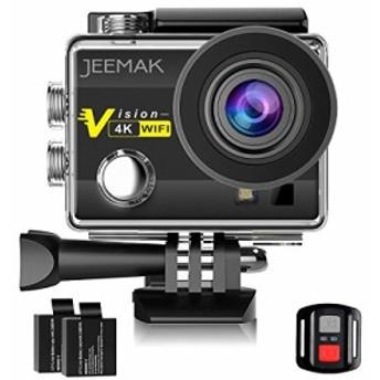 Jeemak 4Kアクションカメラ 1600万画素 フルHD 30m防水 WiFi搭載 リモコン付き 32GBカード対応 ウェアラブルカメラ 170度広角 魚眼レンズ
