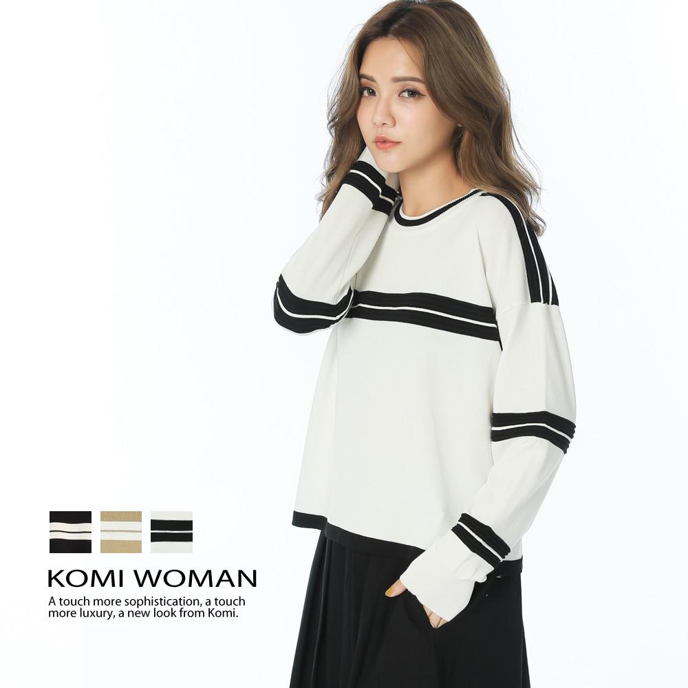 komi配色立體條紋針織上衣三色
