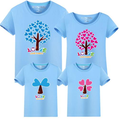 ★韓版MH-S1609《愛心樹》短袖親子裝♥情侶裝@三件組♥多色可選♥