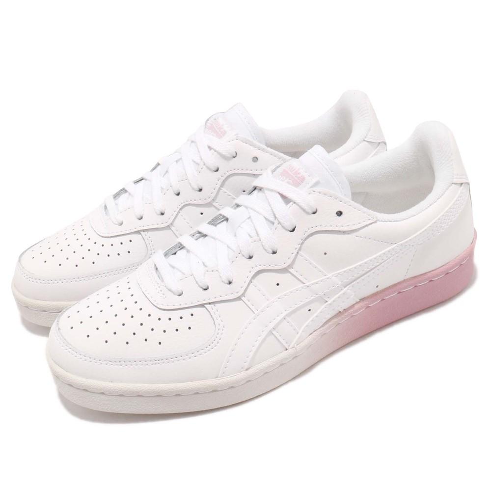 ASICS 休閒鞋 Tiger GSM 低筒 運動 女鞋 亞瑟士 漸層中底 皮革 穿搭 球鞋 白 粉 [1182A035101]