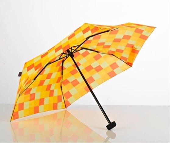 【【蘋果戶外】】EuroSCHIRM【口袋傘】方格黃 公司貨保固保修 DAINTY 晴雨傘 抗UV輕便 玻璃纖維銀膠折疊傘