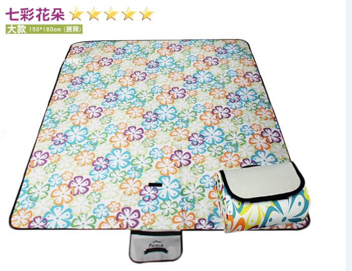 WallFree窩自在 防水耐磨戶外郊遊野餐墊/遊戲毯(大尺寸150*180CM)-七彩花朵