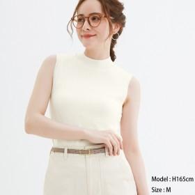 (GU)ハイネックセーター(ノースリーブ) OFF WHITE S