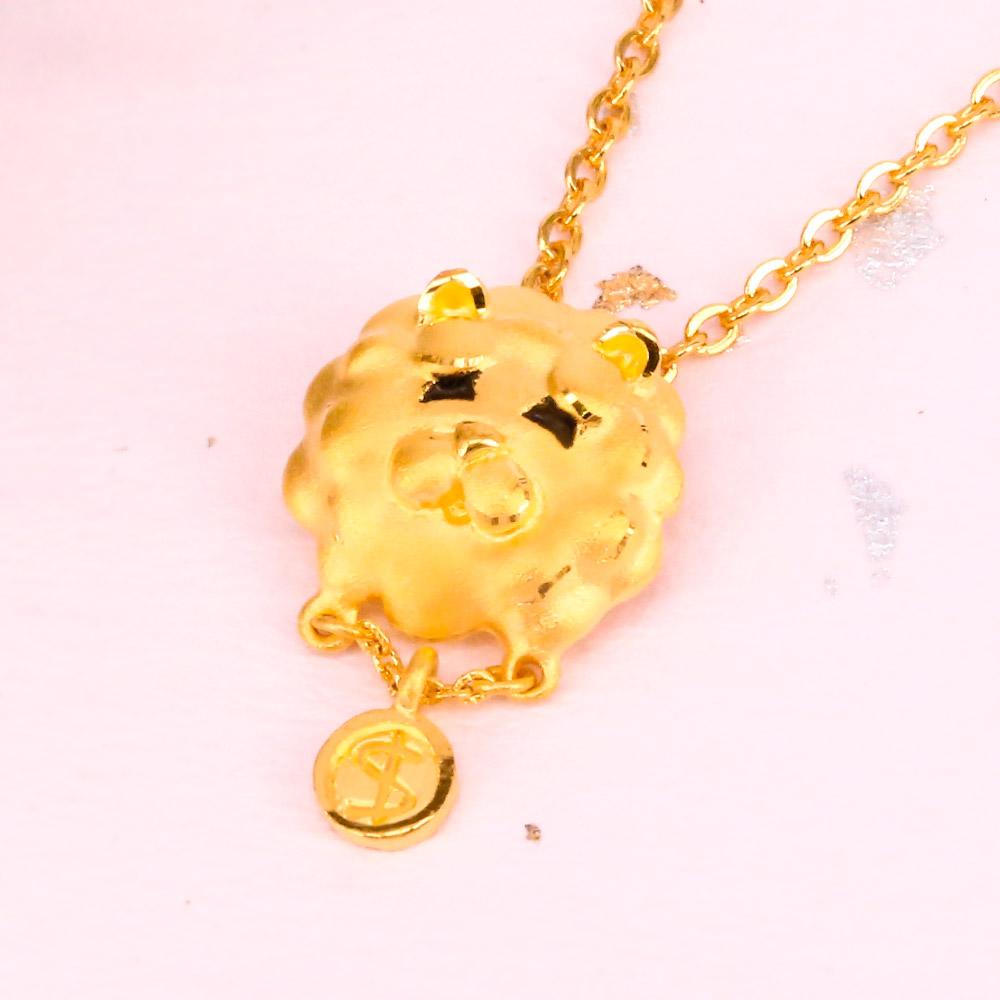 幸運草金飾-富貴鬆獅-黃金墜子