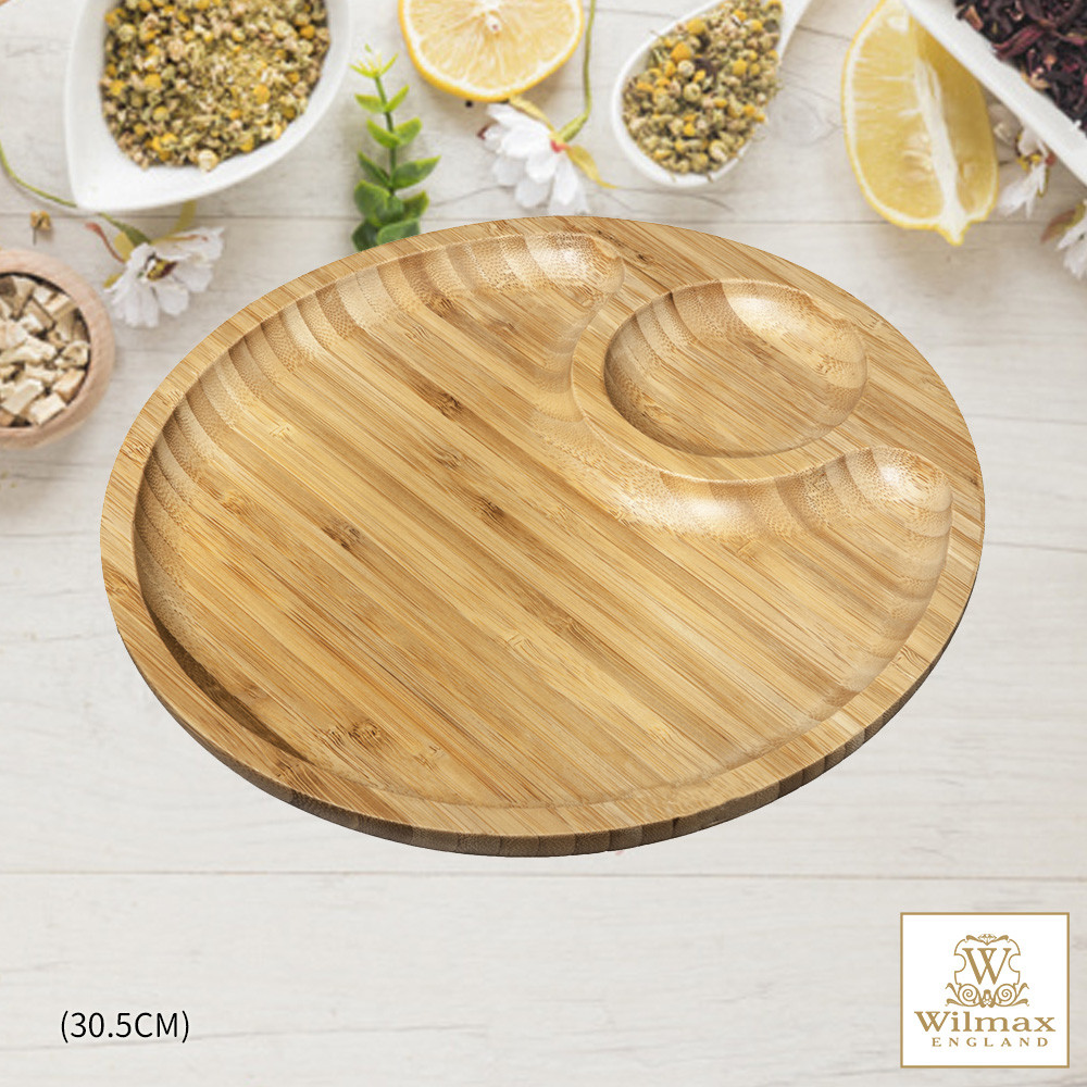 英國 wilmax竹製圓形分隔餐盤/輕食盤 30.5cm