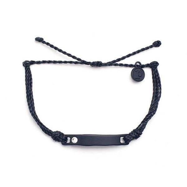 PuraVida美國手工BLACK CRYSTAL FLAT BAR 黑色平衡骨 黑色臘線衝浪手環
