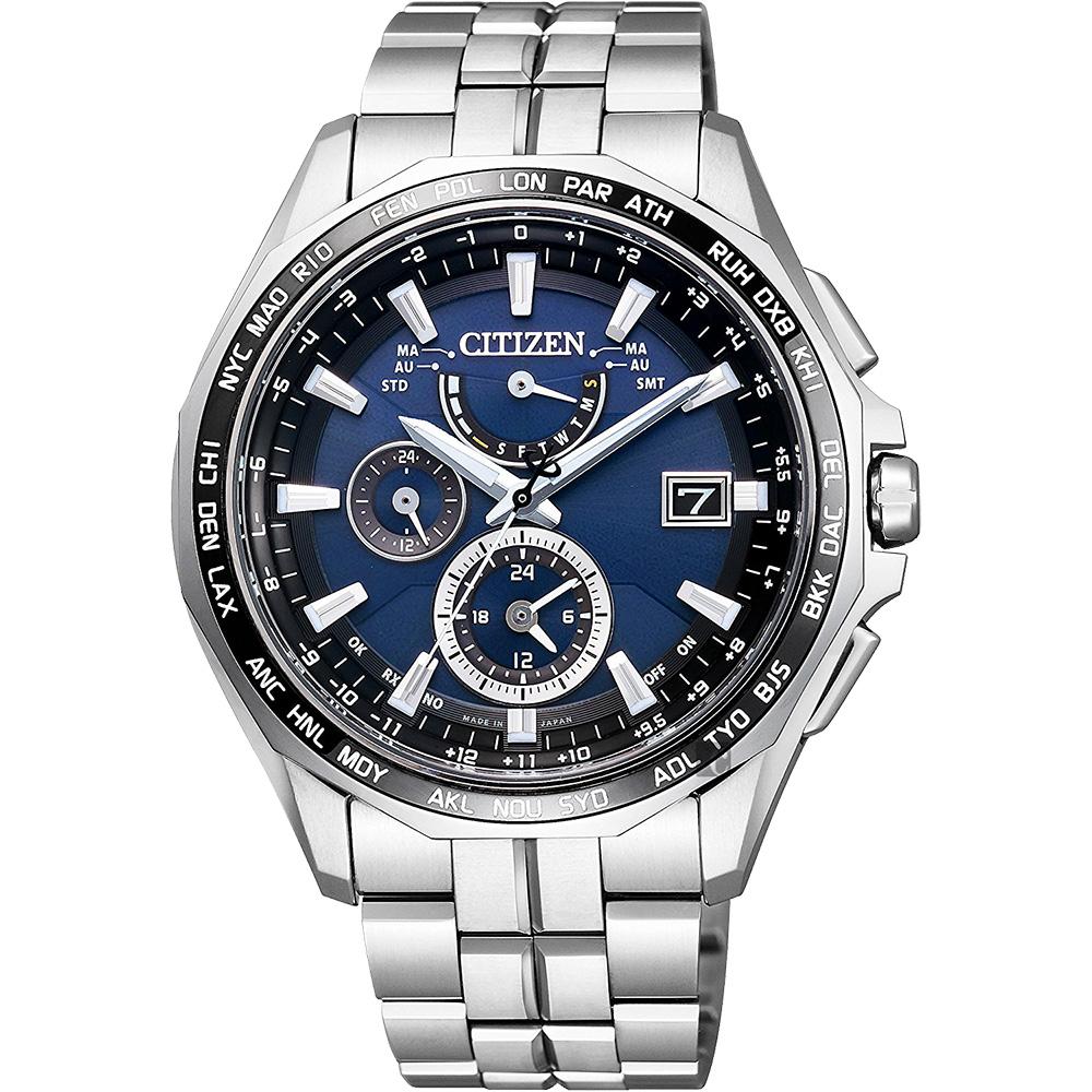 CITIZEN 星辰 光動能電波鈦金屬腕錶-藍x銀/42mm  AT9090-53L