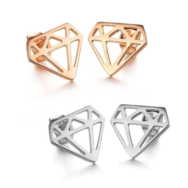 韓版鑽石造型白鋼耳環 一對價-eks273