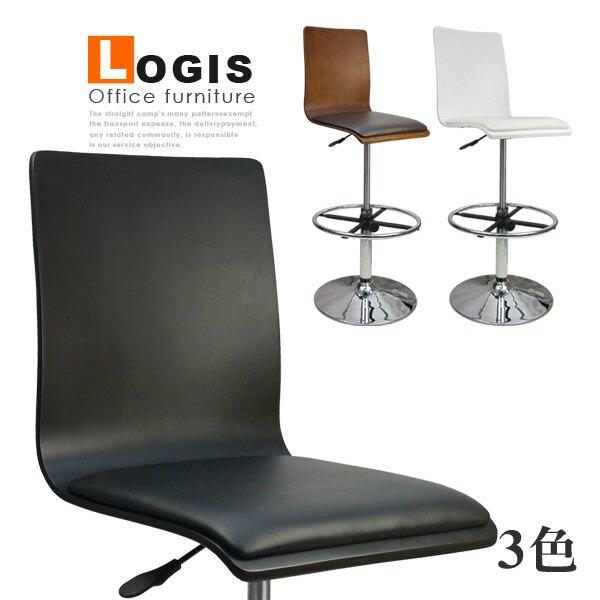 LOGIS邏爵~炫感高背曲木高腳皮革事務椅/電腦椅/吧台椅*020B0X*