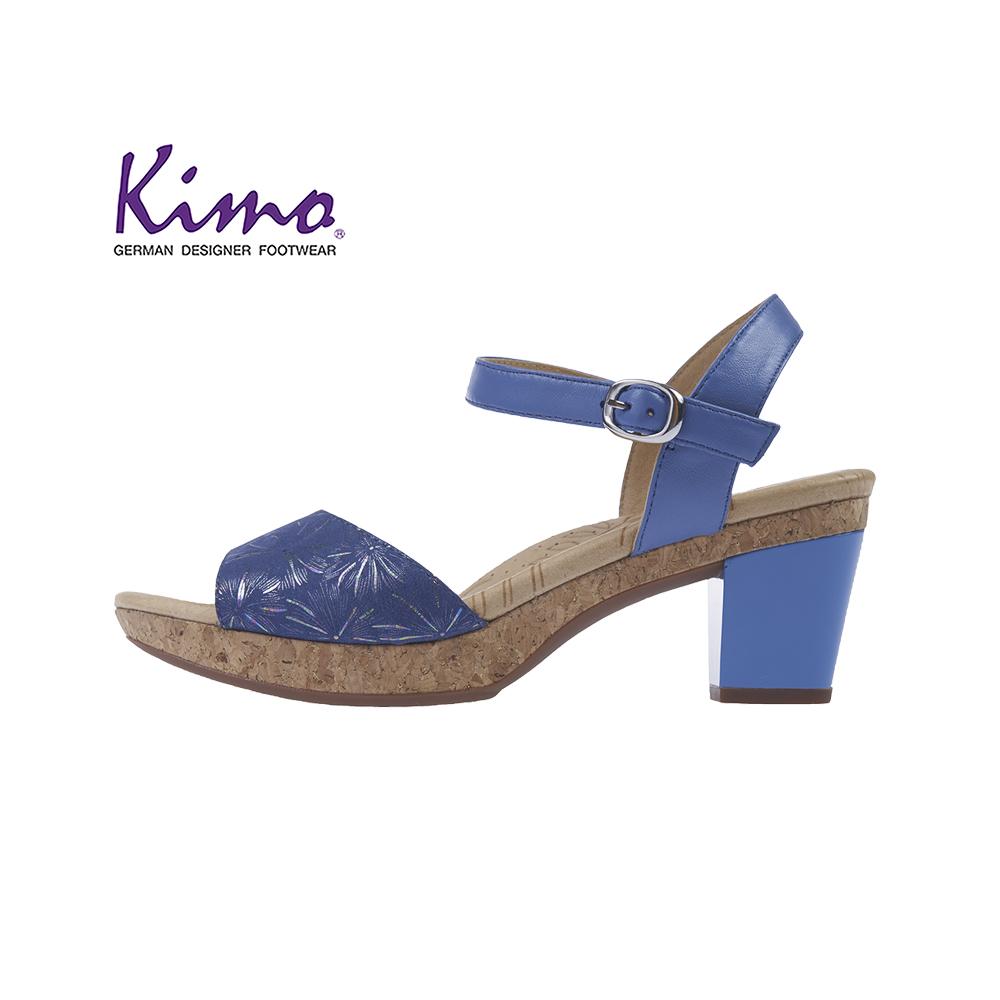 【Kimo 德國品牌健康鞋】煙火花樣鋼琴烤漆跟鞋涼鞋(都市藍KAISF106066)