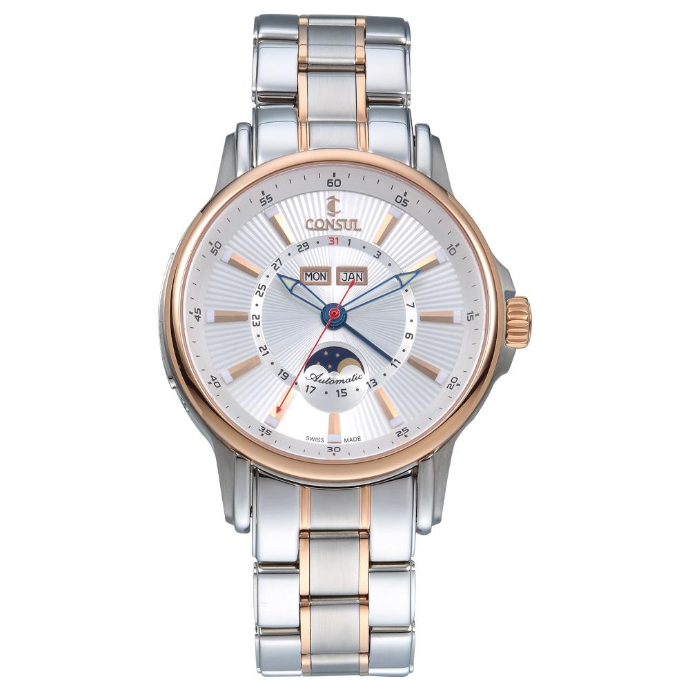 CONSUL 總督錶月相盈虧系列機械腕錶-玫瑰金/42mm