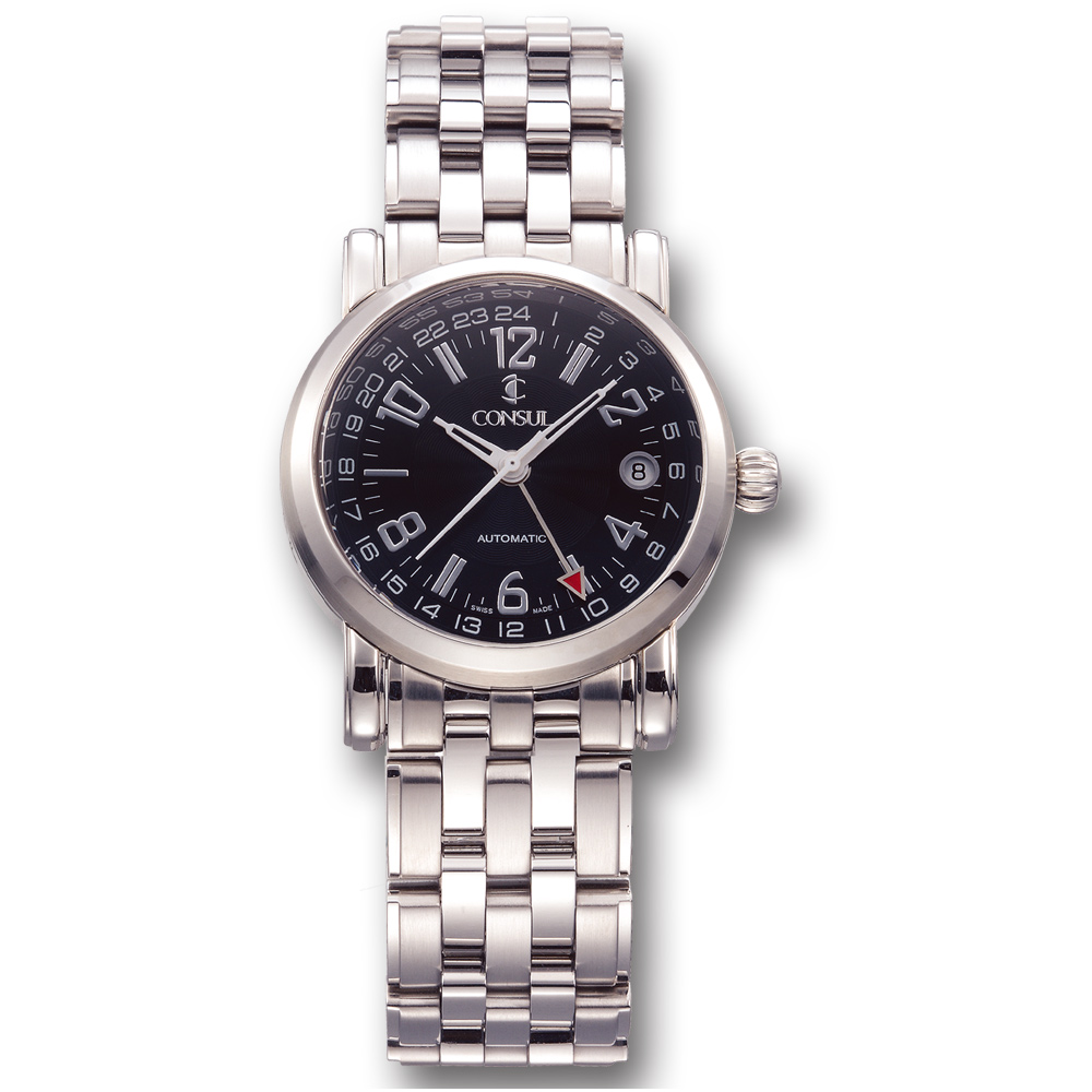 CONSUL 總督錶 兩地時間系列極緻腕錶-黑/37mm