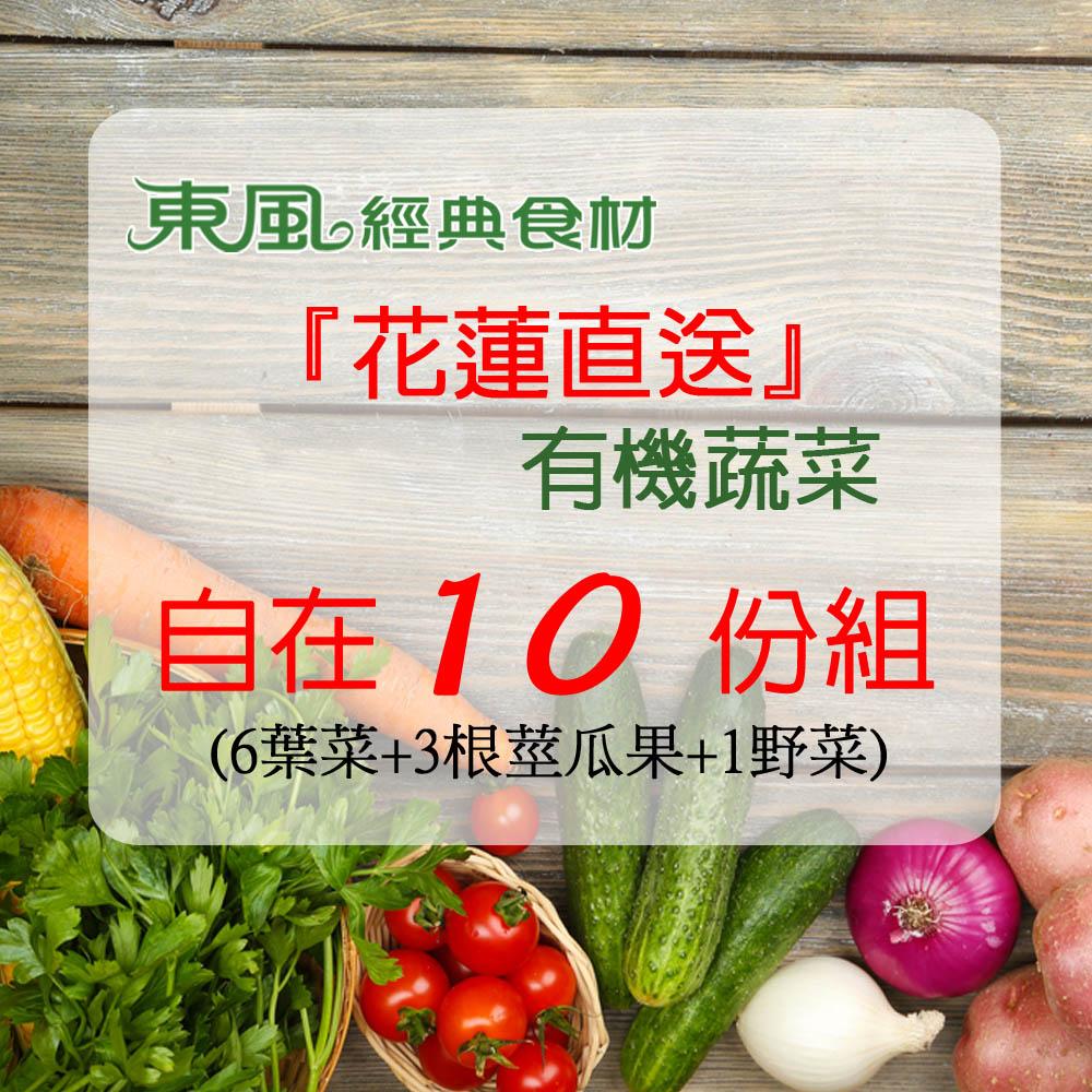 東風經典花蓮直送有機蔬菜10份季蔬=6葉菜+3根莖瓜果+1野菜