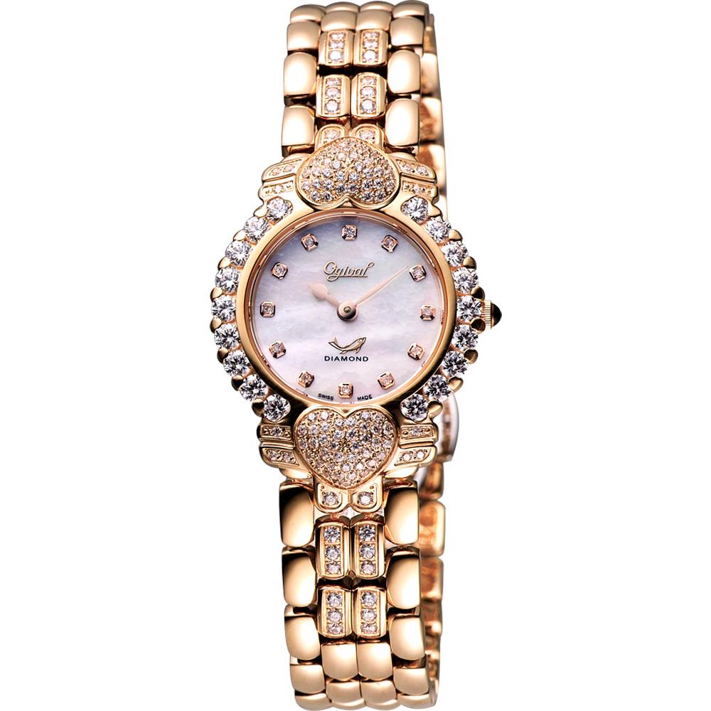 Ogival 愛其華 心心相印真鑽腕錶-白彩貝x玫塊金/28mm  380-082DLR