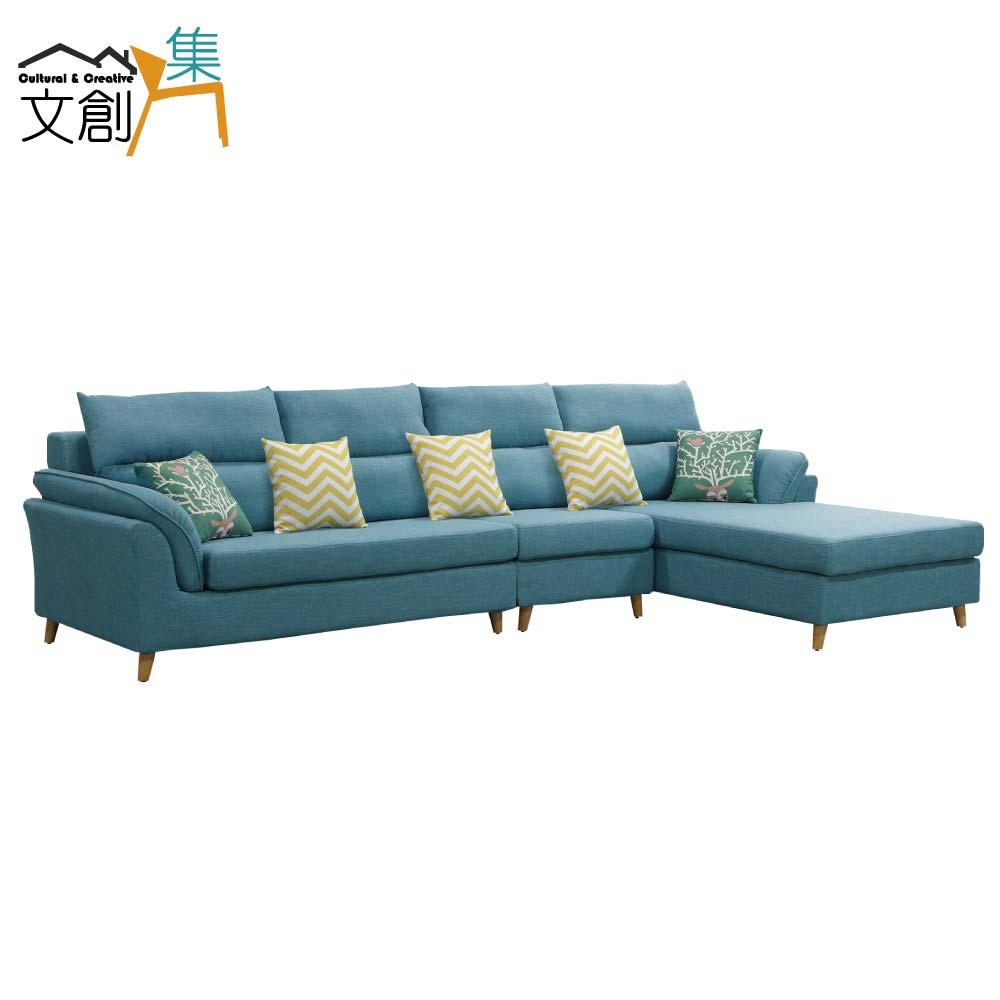 【文創集】沙里 時尚亞麻布L型獨立筒沙發組合(左右二向可選+二色可選)