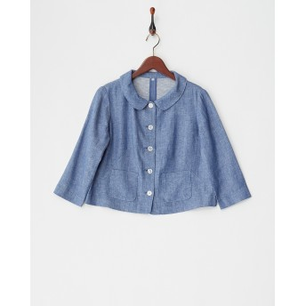 PLARAPA 麻レーヨン綾織りジャケット○51148102 ブルー ブルゾン
