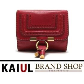 クロエ 財布 マーシー 二つ折り財布 3P0572-161 レッド(赤)×ゴールド金具 レザー Bランク/中古 クロエ財布