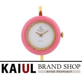 グッチ チェンジベゼル バングルウォッチ GP ゴールド ホワイト クオーツ レディース 腕時計 Bランク