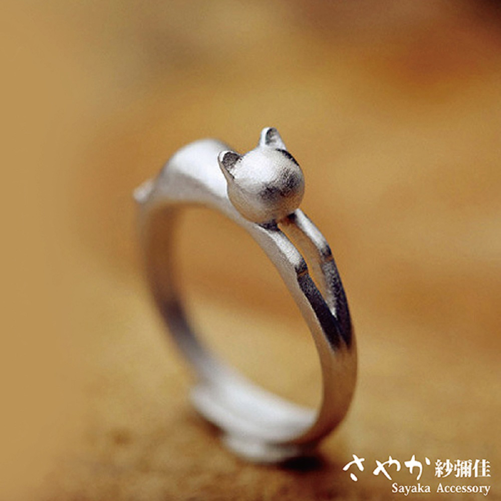 【Sayaka紗彌佳】飛撲喵星人戒指(霧面) / 可調式-霧面款