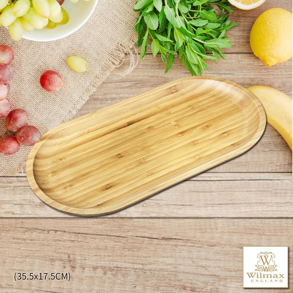 【英國 WILMAX】竹製長圓形餐盤/輕食盤 (35.5x17.5CM)