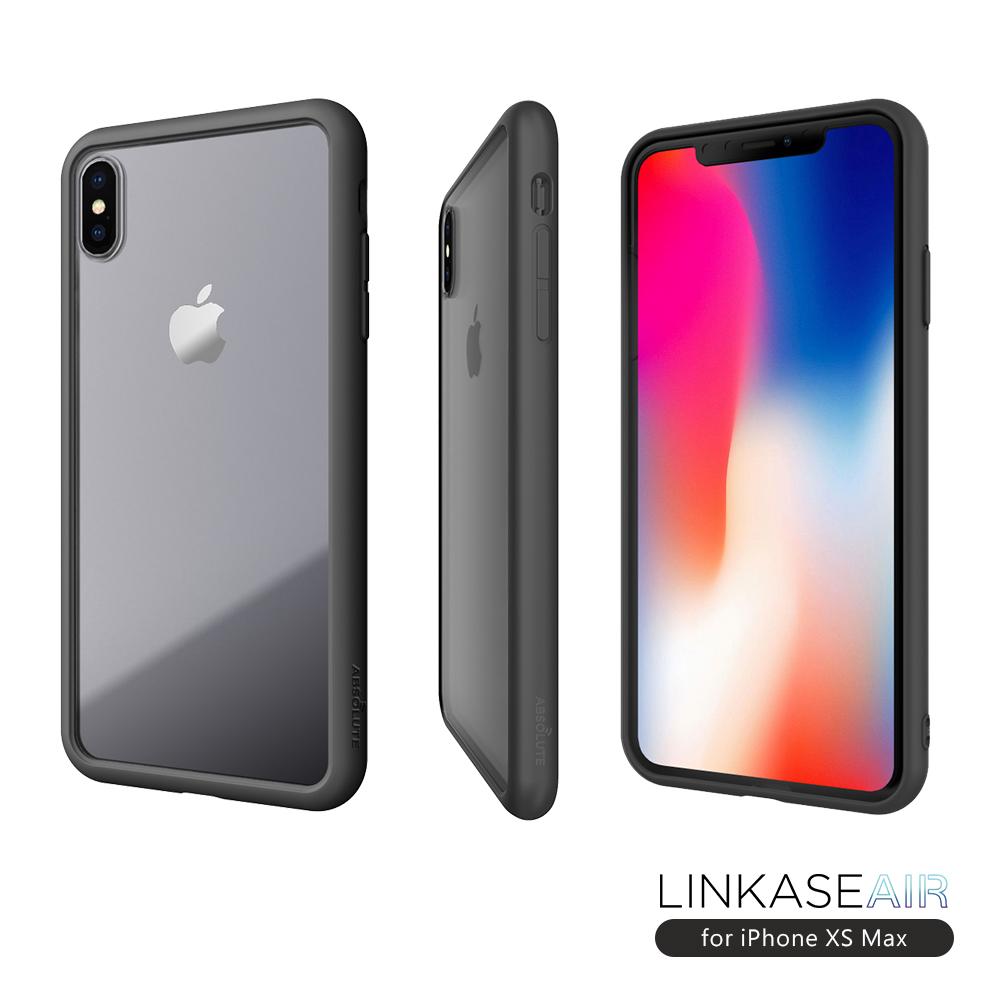 ABSOLUTE LINKASE AIR iPhone XS Max(6.5吋)專用 軍規防摔認證9H大猩猩康寧玻璃機身保護殼-霧黑邊框
