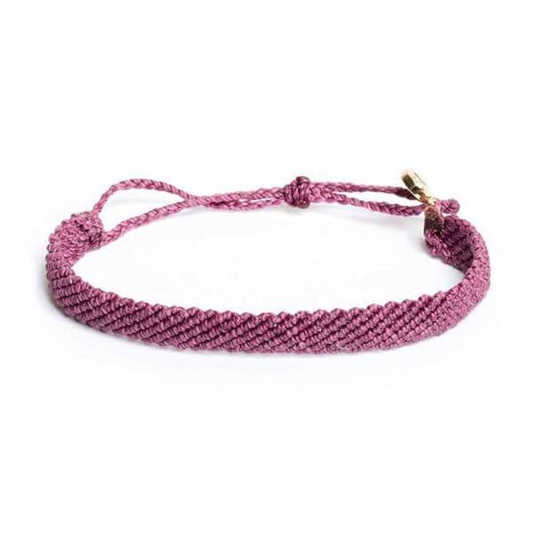PuraVida美國手工FLAT BRAIDED FUCHSIA葡萄粉紫色 粗線寬版編織 手環