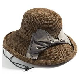 クイーンヘッド 紐付き りぼんラフィアハット UV 帽子 レディース 大きいサイズ つば広 ハット 日よけ 麦わら帽子 紫外線対策【BIG60-62c