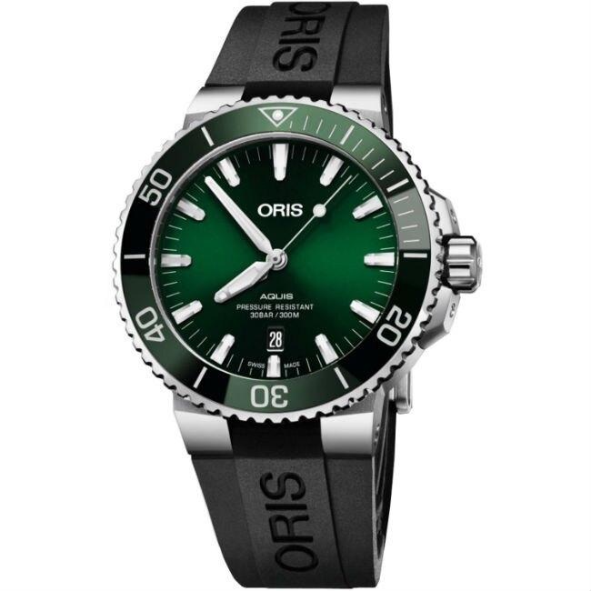 ORIS 豪利時 Oris Aquis 時間之海 0173377304157-0742464EB 潛水機械腕錶/綠 43.5mm