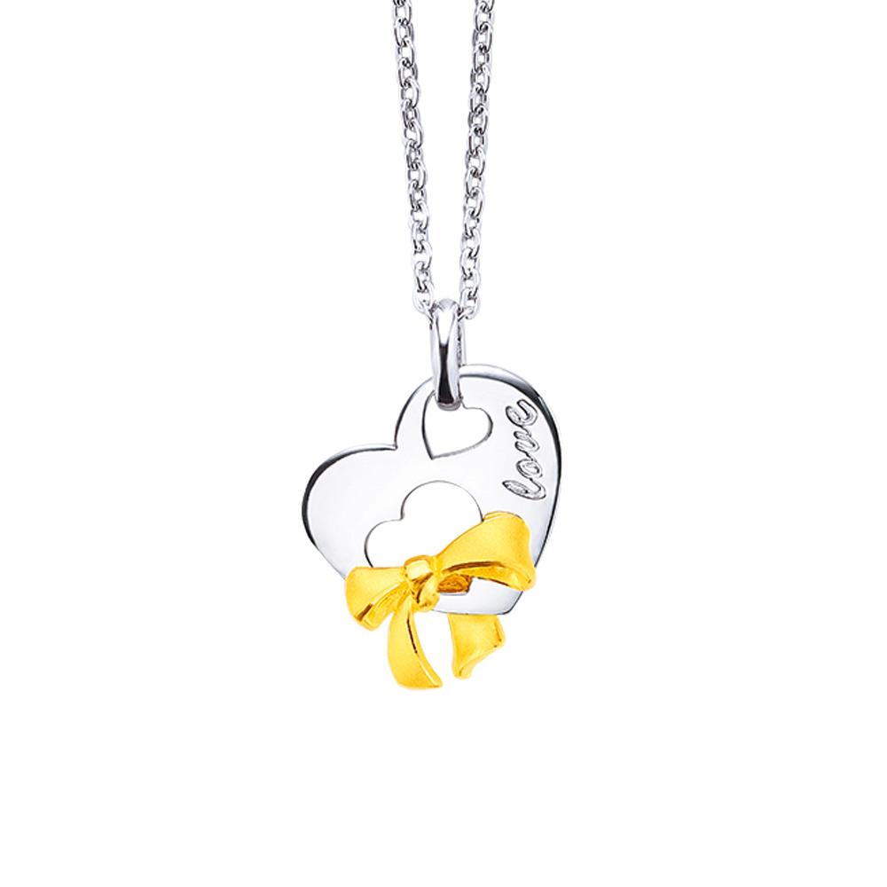 幸運草金飾-美麗的日子-金加銀墜子(附白鋼項鍊)
