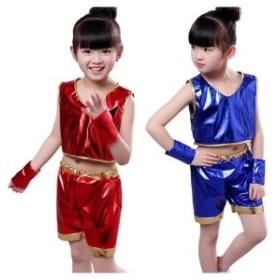 キッズ ダンス衣装 チアガール ジャズダンス キラキラ 子供服 セットアップ 男の子 女の子 ダンスウェア 合唱 体操服 応援団