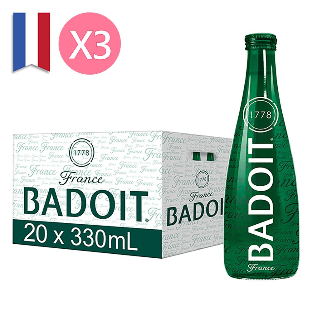 【BADOIT 波多】天然氣泡礦泉水330ml (20入/Glass/箱)x3箱