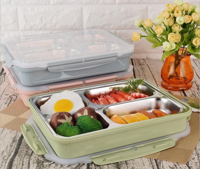 北歐風304不銹鋼便當盒 雙層四分格保溫餐盒 便當盒