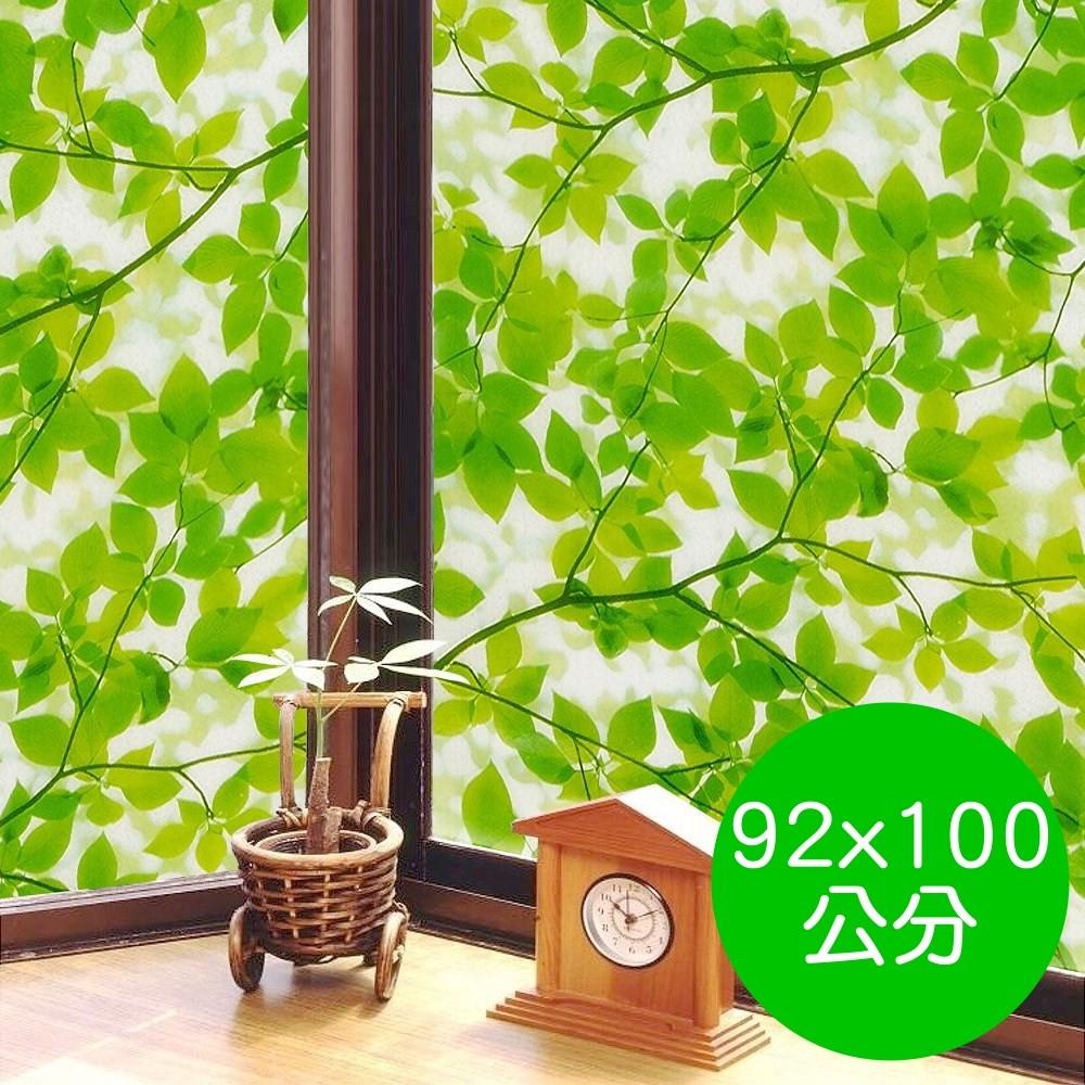 日本meiwa抗uv節能靜電窗貼 (綠葉盈窗)-92x100公分