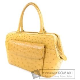 SELECT BAG【セレクトバッグ】 フロントポケット ハンドバッグ オーストリッチ レディース 【中古】