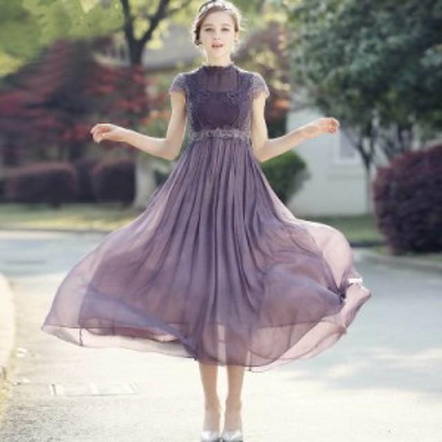 デザインレース ハイウエスト シフォンワンピースドレス 大きいサイズ 春夏 きれいめ 大人 Aライン フェミニン 二次会 パーティ 透け感