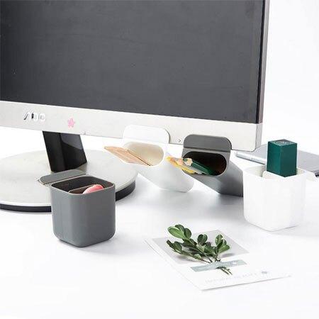 桌面螢幕收納筆筒 筆筒 收納筒 置物桶 收納 雜物 置物 文具 辦公室小物 整理【B063498】