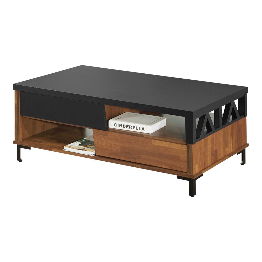 結帳再折_【AT HOME】美式工業風4尺集層木雙色大茶几/邊桌/客廳桌/邊桌(120*59*45cm)亞瑟