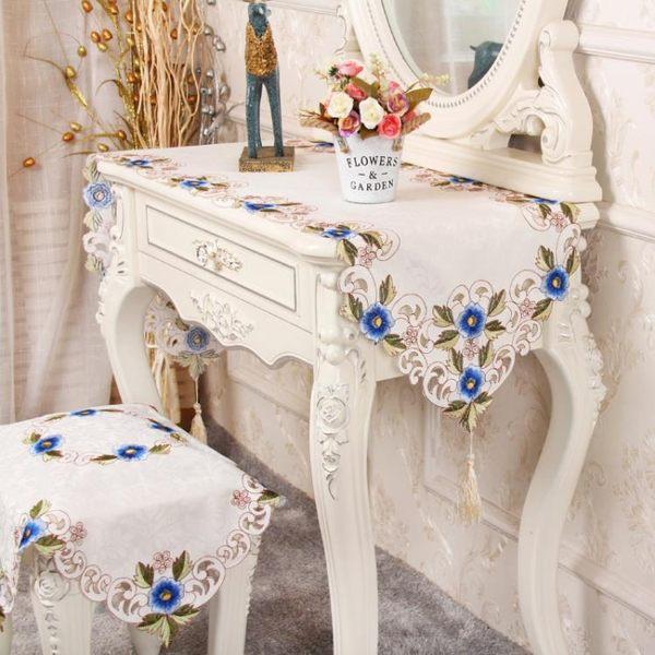 桌旗 歐式梳妝台桌布布藝化妝台罩套布桌墊美甲電視櫃桌布桌旗防塵蓋巾 限時搶購