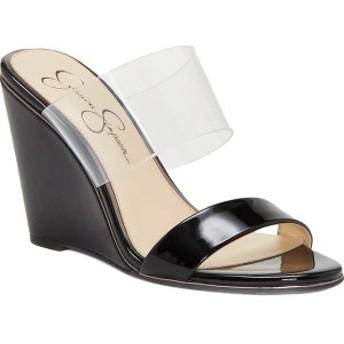 ジェシカシンプソン レディース サンダル シューズ Winsty Slip-On Wedge Black Nappa Leather/Leather
