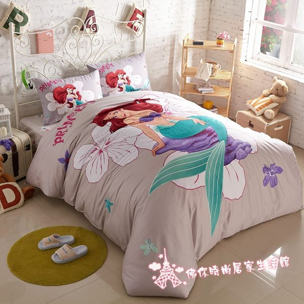 迪士尼床包 人魚公主 5尺 標準雙人 迪士尼公主 小朋友床組 兒童床包 美人魚床包 佛你企業