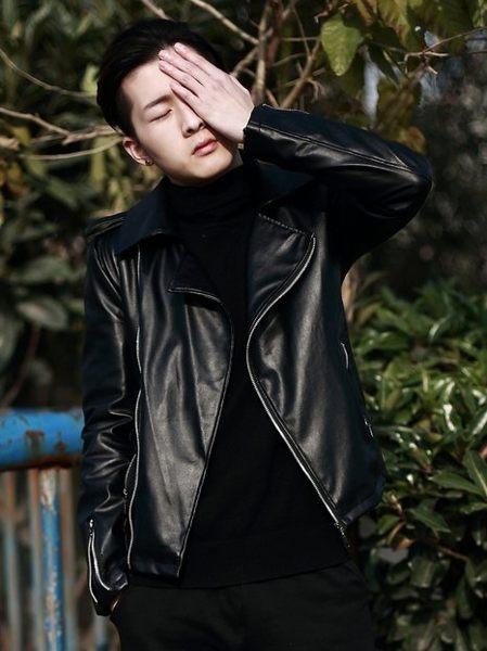韓國 機車 皮外套 黑皮革