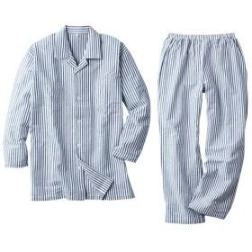 【レディース】 綿100%サッカーシャツパジャマ(男女兼用) - セシール ■カラー:ストライプ ■サイズ:3L,5L,S