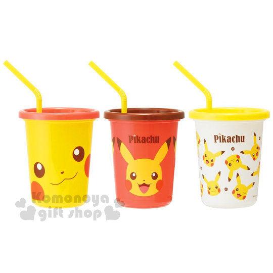 〔小禮堂〕神奇寶貝 寶可夢 皮卡丘 日製塑膠杯《3入.咖紅黃.大臉.滿版.320ml》附蓋.吸管 4973307-38536