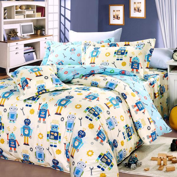 【Novaya‧諾曼亞】《怪打機器人》絲光綿雙人四件式鋪棉兩用被床包組(米)
