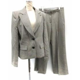 【中古】キャシャレル cacharel セットアップ 上下 スーツ ジャケット パンツ グレンチェック グレー