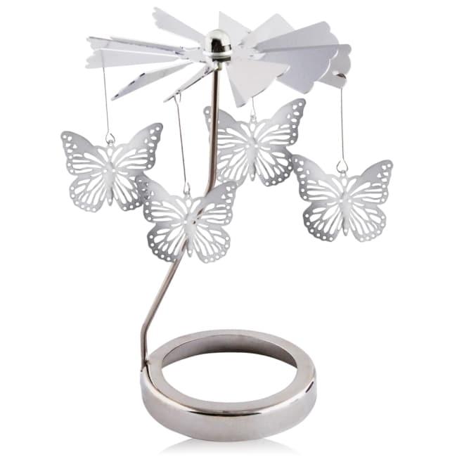 歐沛媞 歐式旋轉燭罩蠟燭台-銀-蝴蝶飛舞 加贈YANKEE CANDLE 香氛蠟燭49g
